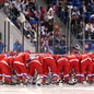 SOCHI, RUSSIA - FEBRUARY 11: Team Russia gathers around the net prior to their game against team Japan during women's preliminary round action at the Sochi 2014 Olympic Winter Games. (Photo by Andre Ringuette/HHOF-IIHF Images)