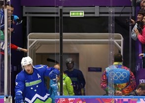 SOCHI, RUSSIA - FEBRUARY 19: Slovania's Anze Kopitar #11 steps onto the ice prior to his game against Sweden during men's quarterfinal round action at the Sochi 2014 Olympic Winter Games. (Photo by Andre Ringuette/HHOF-IIHF Images)